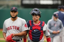 Oakland A's vs Boston Red Sox #57 P Eduardo Rodriguez & #7 C Christian Vazquez