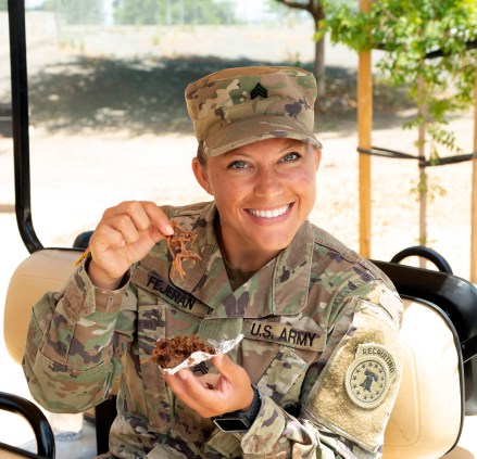 Army Sgt Natalie Fejeran was one of the BBQ judges. She is from Texas and claims to cook a mean brisket.