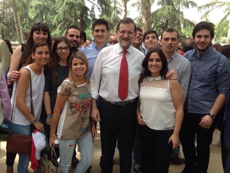 Con el Presidente Mariano Rajoy, durante la campaña de las Municipales de 2015