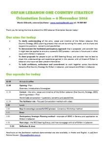 OCS Orientation day - outline