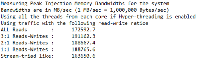 Synthetic RAM Test - Customer 1 – MLC app (Memory Latency Checker)