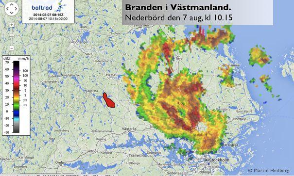 Karta över regn och branden i Västmanland