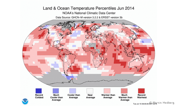 Land and Ocean Temperature june 2014