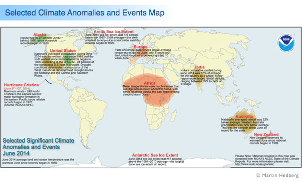 Selected Climate Anomalies and Events Map