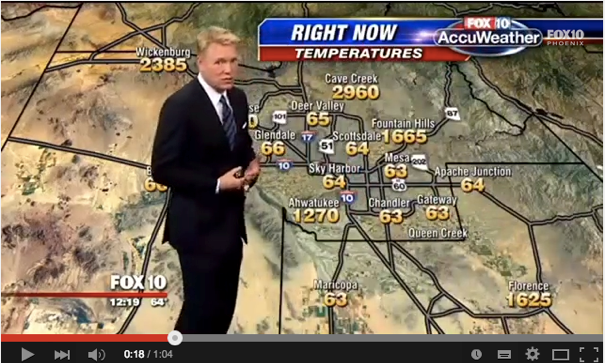 Weatherman Cory McCloskey stays cool despite high temperatures