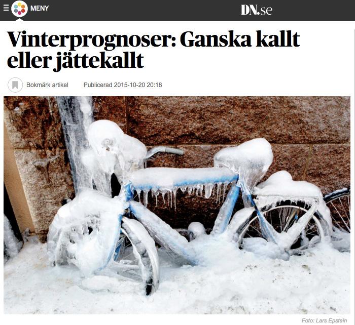 """Skärmdump från DN.se den 20 oktober 2015. Rubrik och bild anger """"vargavinter"""", men löptext och framför allt källorna säger att det skall bli en normal vinter."""