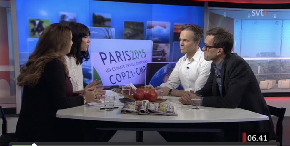 Jag och Mattias Goldmann medverkar i SVT Gomorron med anledning av klimatförhandlingarna i Paris.