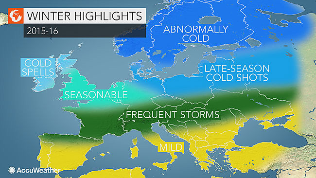 """Winter highlights"" från Accuweathers långtidsprognos i oktober 2015."