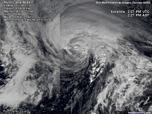 Ovanligt tidig orkan vid namn Alex