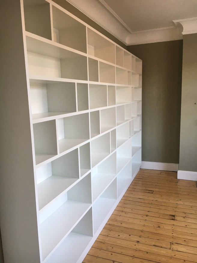 Library shelving in white