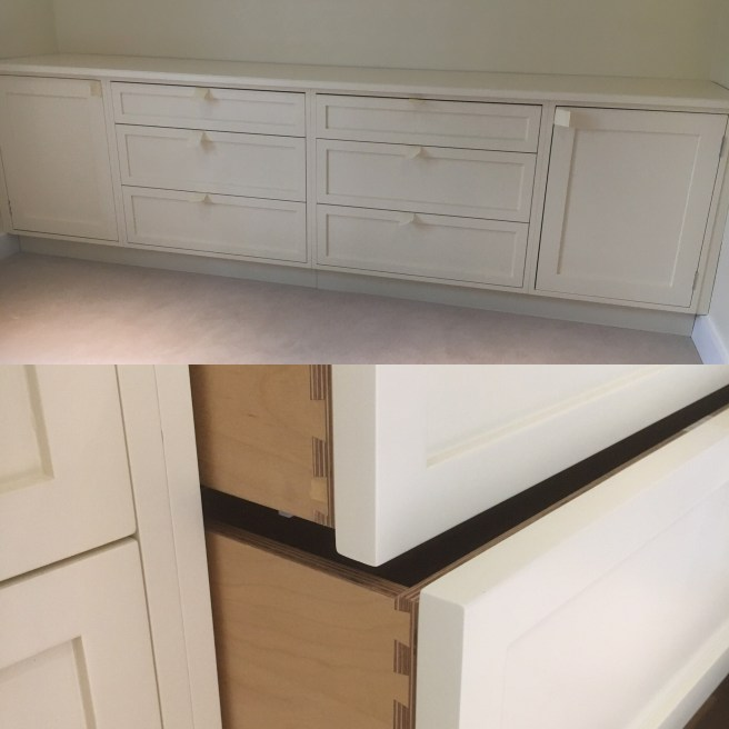 Dressing room drawers and storage cupboards