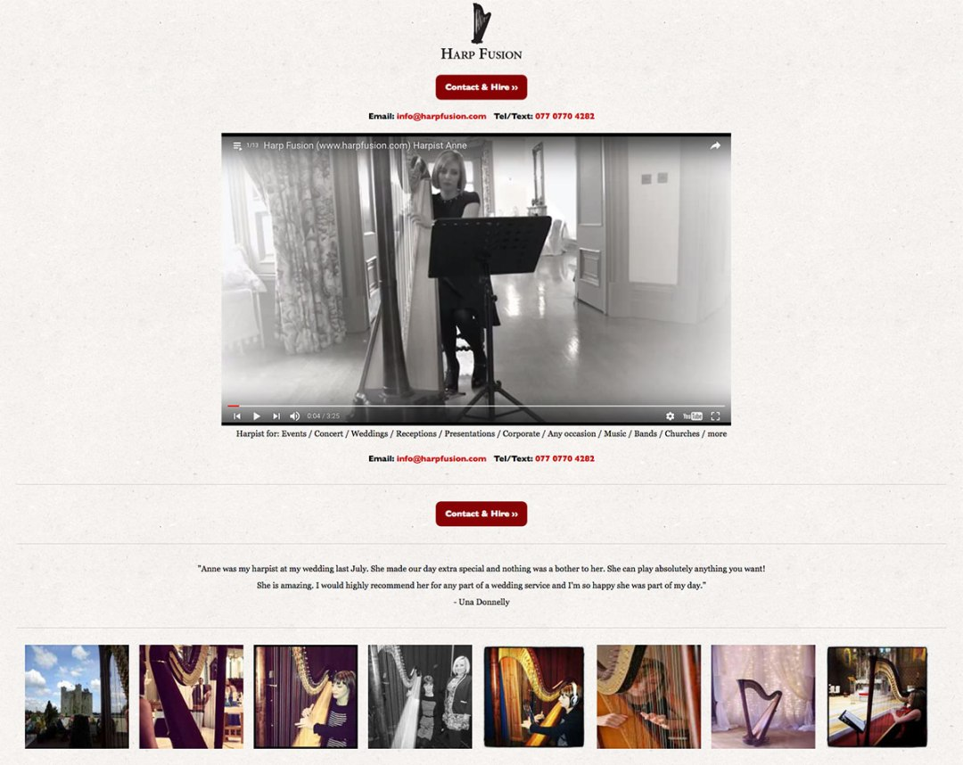 Harp Fusion website for Harpist Anne McAlinden
