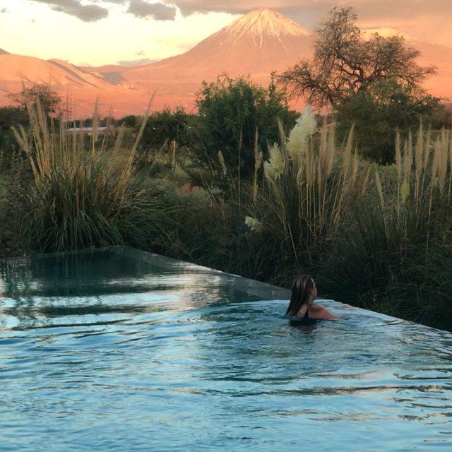 Infinity pool at Tierra Atacama at sunset