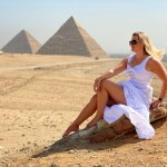 Sitting in front of the pyramids