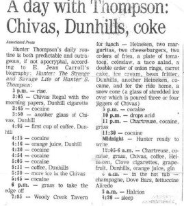 Hunter S. Thompson drinking
