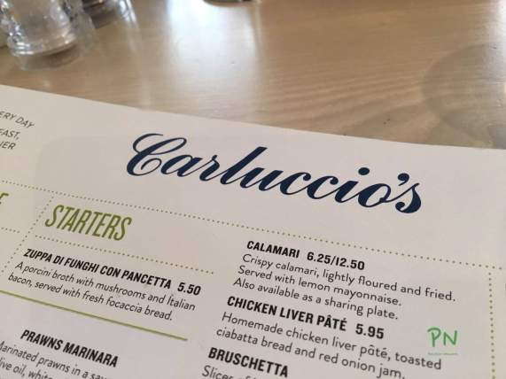 London 2016 mit Huawei - Carluccios's - glutenfrei Essen in London