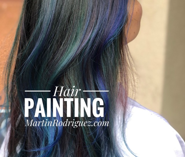 Hair Painting With Blueviolet And Teal Hair Color