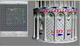 Showing how the UV map is incorrect, it has shearing and multiple UV orientations.