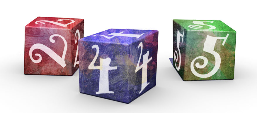 Dice for Weigh Away algebra educational game.