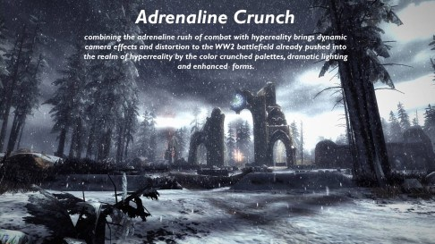 Overview of the Adrenalin Crunch art direction.