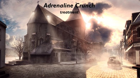 Concept art showing the Adrenalin art direction in the village of Bastogne.