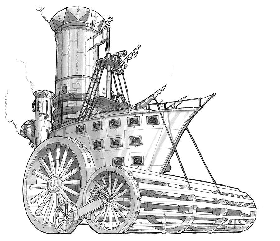 A goblin device of mass destruction set in a steampunk/fantasy world.