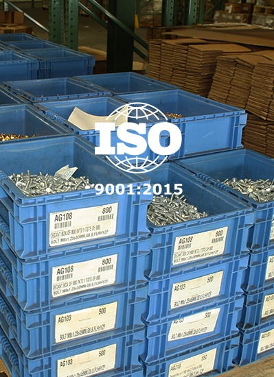 bolts, nuts, and fasteners with ISO 9001 logo