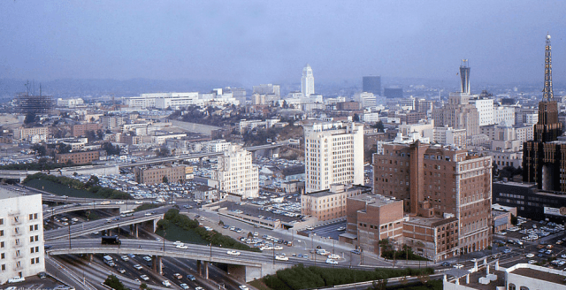 Looking northeast from 6th Street and Beaudry, ca.1964