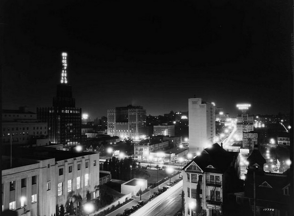 Night view looking southwest from the Engstrum toward the Richfield towera, 1932