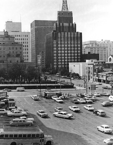 Richfield Tower from the site of the former Castle Tower Apartments, ca.1964