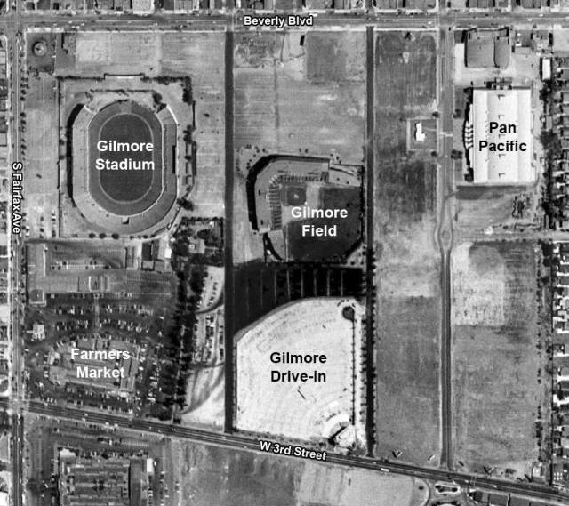 Aerial shot of Gilmore Stadium, Gilmore Field, Gilmore Drive-in, Farmer's Market, and the Pan Pacific Auditorium