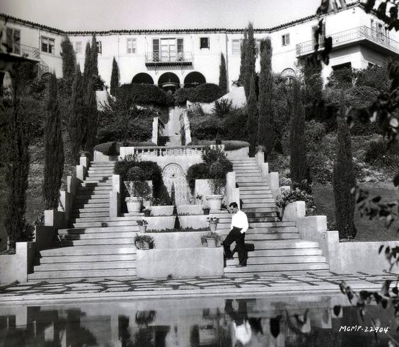 Buster Keaton at his Italian Villa, Pamela Drive, Beverly Hills
