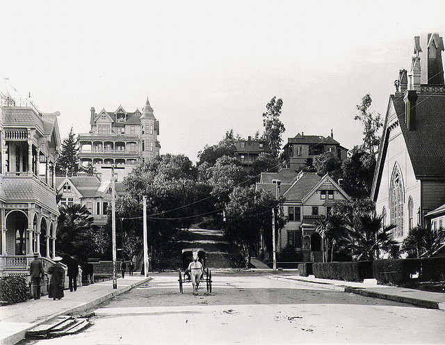 Corner of 3rd and Hill Streets, downtown Los Angeles, 1898