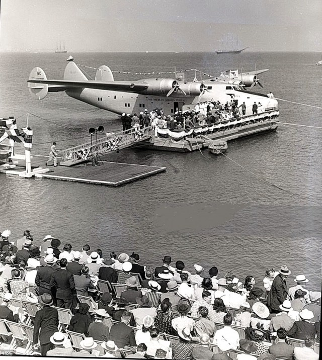Christening of Pan-Am's American Clipper for regular flights between Los Angeles and San Francisco, Terminal Island, near San Pedro, July 1939.