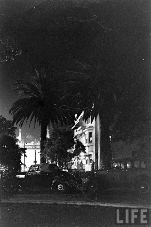 """Hotel Hollywood"" at night, Hollywood Blvd, 1936"