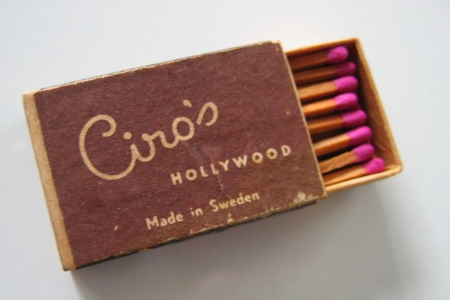 Box of matches from Ciro's nightclub, Sunset Strip, Los Angeles