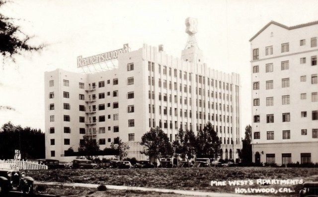 Ravenswood Apartments with the revolving R, Rossmore Ave, Hollywood, 1934