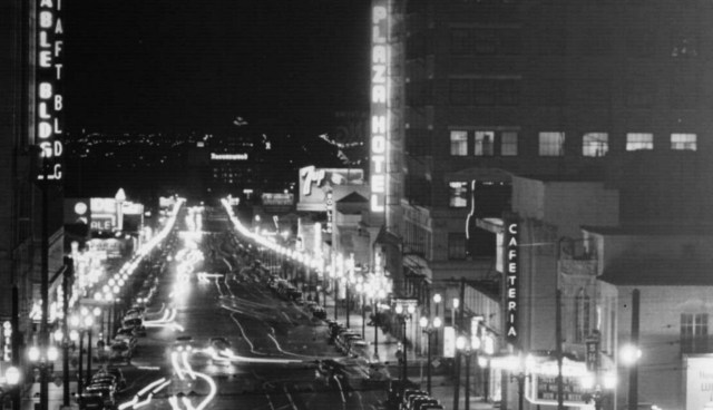 The lighted Ravenswood sign and the giant revolving R (now gone) were visible from Hollywood and Vine
