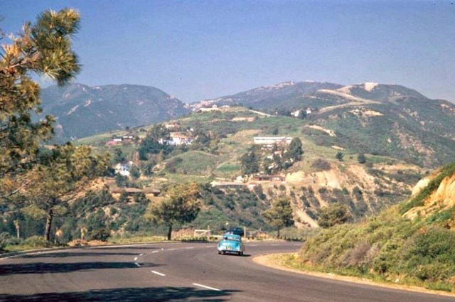 Sunset Blvd. near its terminus with the Pacific Coast Highway, Pacific Palisades, 1952