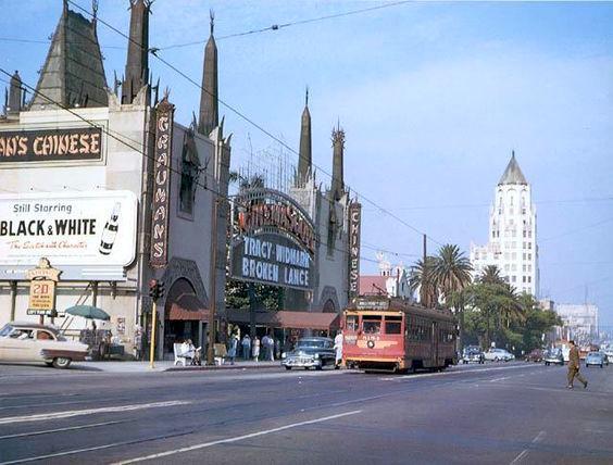 """Broken Lance"" plays Grauman's Chinese Theatre on Hollywood Blvd, 1954"