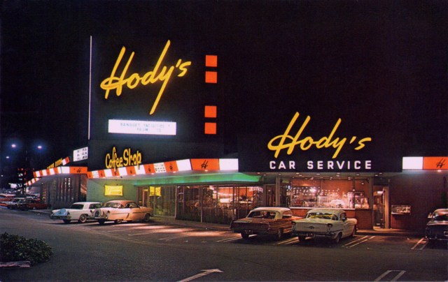 Hody's Coffee Shop, at 7th St and Pacific Coast Highway, Long Beach, California, 1955