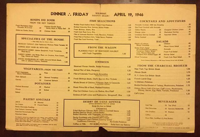 Menu for the Wilshire Blvd Brown Derby, April 19th, 1946