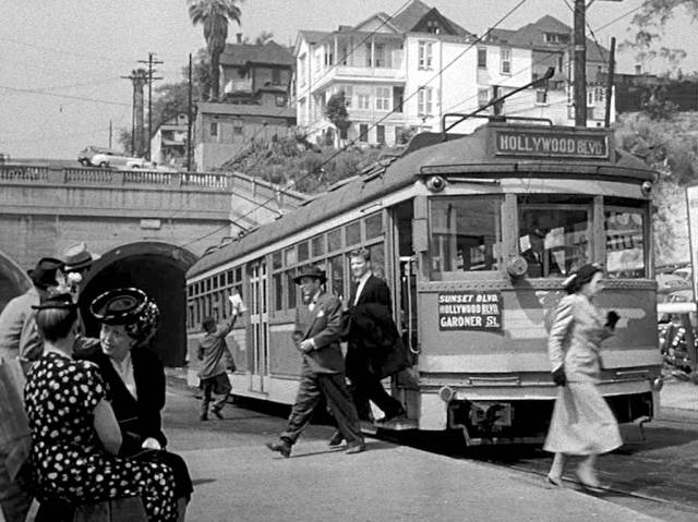 "Hollywood Blvd streetcar as seen in ""Criss Cross"" (1949)"