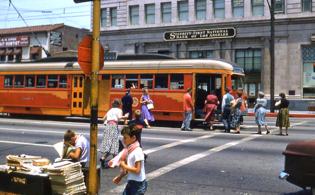 Pacific Electric red car on final day of service, Brand Boulevard at Broadway, Glendale, June 1955