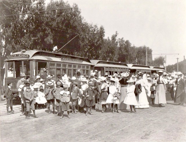 Angelenos dressed to the nines arrive in Santa Monica on the Pasadena & Pacific Railway, 1896