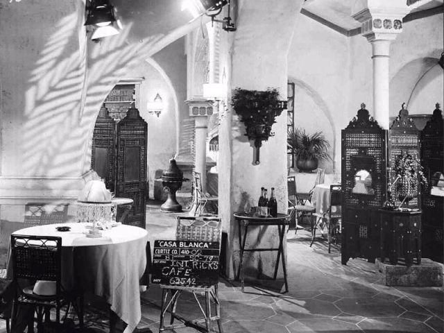 "Interior set of Rick's Café Américain on the set of ""Casablanca"" (1942)"