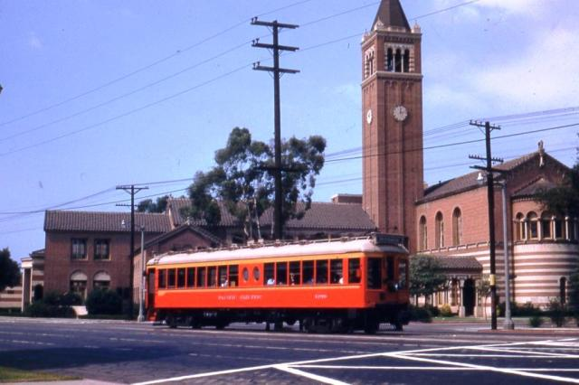 A Pacific Electric Red Car passing the University of Southern California in 1953