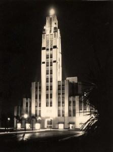 Bullocks Wilshire exterior at night