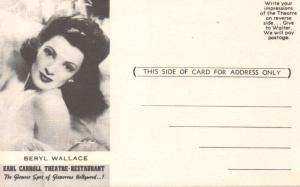 Earl Carroll Theater's Beryl Wallace postcard