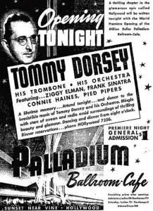 Hollywood Palladium opening night poster, Tommy Dorsey & Frank Sinatra